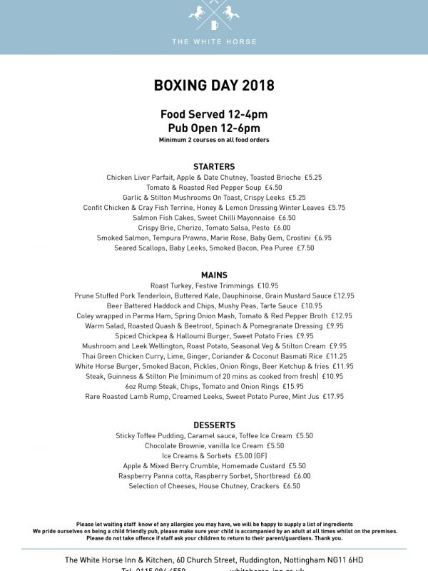 Boxing Day Menu